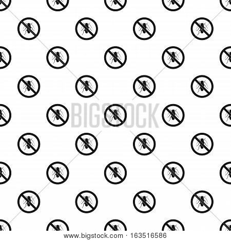 Prohibition sign bugs pattern. Simple illustration of prohibition sign bugs vector pattern for web