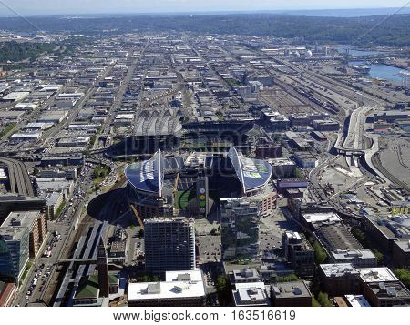 SEATTLE - JUNE 24: Aerial view of CenturyLink train tracks buildings roads Safeco Field and surrounding area in Seattle in June 24 2016.
