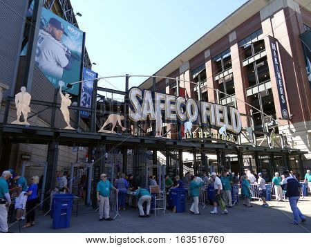 SEATTLE - JUNE 26: People enter into Left Field Gate to Safeco Field in Seattle in June 26 2016. Home of the Seattle Mariners