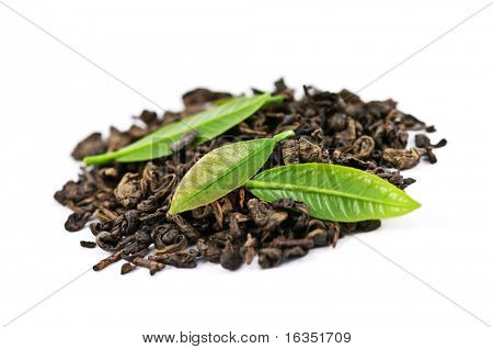 green tea with leaf isolated on white background poster