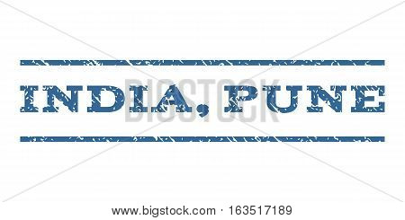 India, Pune watermark stamp. Text tag between horizontal parallel lines with grunge design style. Rubber seal stamp with scratched texture. Vector cobalt color ink imprint on a white background.