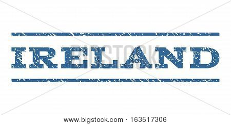 Ireland watermark stamp. Text tag between horizontal parallel lines with grunge design style. Rubber seal stamp with scratched texture. Vector cobalt color ink imprint on a white background.