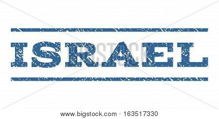 Israel watermark stamp. Text caption between horizontal parallel lines with grunge design style. Rubber seal stamp with unclean texture. Vector cobalt color ink imprint on a white background.