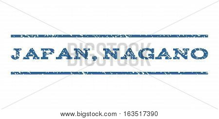 Japan, Nagano watermark stamp. Text tag between horizontal parallel lines with grunge design style. Rubber seal stamp with dirty texture. Vector cobalt color ink imprint on a white background.