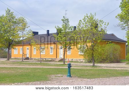 Old wooden building in the fortress of Lappeenranta. Lappeenranta - city and municipality in Finland in the province of Eastern Finland.