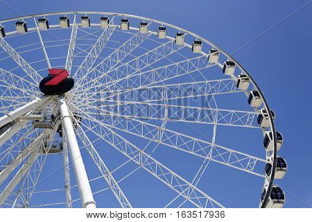 BRISBANE, AUSTRALIA - December 28, 2016: The Wheel of Brisbane is an almost 60 metres tall ferris wheel installed in Brisbane Australia.