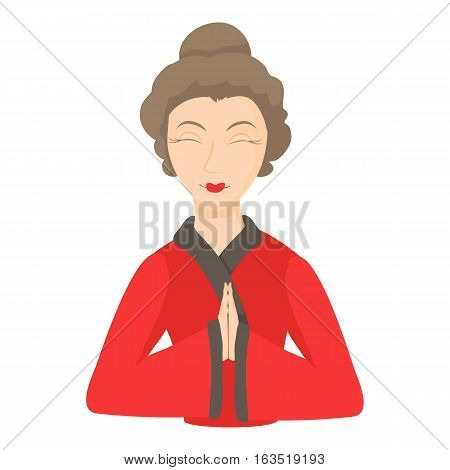 Geisha icon. Cartoon illustration of geisha vector icon for web