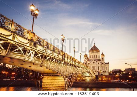 Christ the Savior Cathedral and the pedestrian bridge to him in Moscow