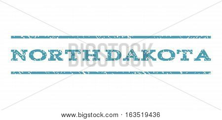 North Dakota watermark stamp. Text caption between horizontal parallel lines with grunge design style. Rubber seal stamp with dirty texture. Vector cyan color ink imprint on a white background.