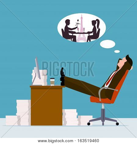 On the image presented Office worker dreaming of a romantic meeting. Flat style vector illustration.