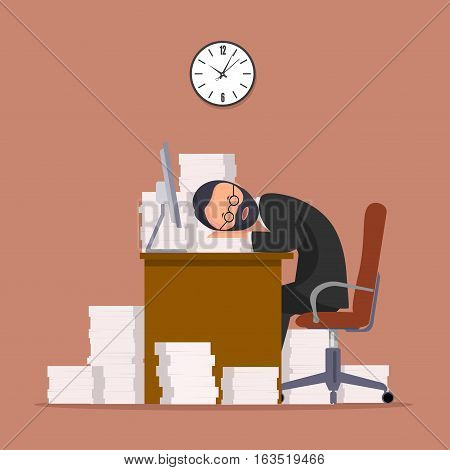 On the image presented Comical image of office worker who has fallen asleep in a workplace, a vector illustration.
