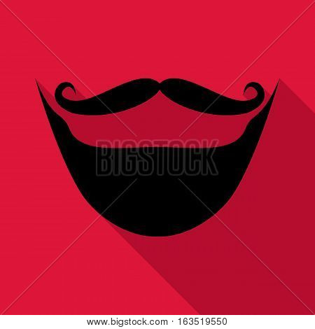 Moustache and beard icon. Flat illustration of moustache and beard vector icon for web