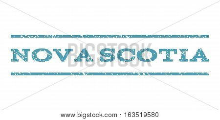 Nova Scotia watermark stamp. Text tag between horizontal parallel lines with grunge design style. Rubber seal stamp with scratched texture. Vector cyan color ink imprint on a white background.