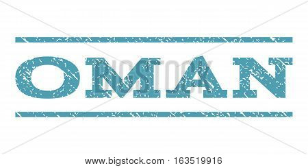Oman watermark stamp. Text caption between horizontal parallel lines with grunge design style. Rubber seal stamp with scratched texture. Vector cyan color ink imprint on a white background.