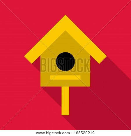 Bird house icon. Flat illustration of bird house vector icon for web