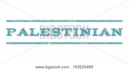 Palestinian watermark stamp. Text tag between horizontal parallel lines with grunge design style. Rubber seal stamp with dust texture. Vector cyan color ink imprint on a white background.