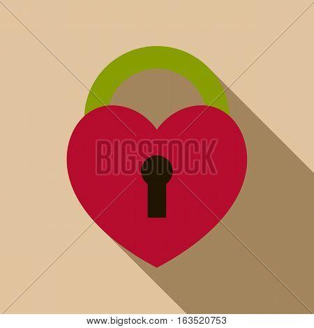 Heart lock icon. Flat illustration of heart lock vector icon for web