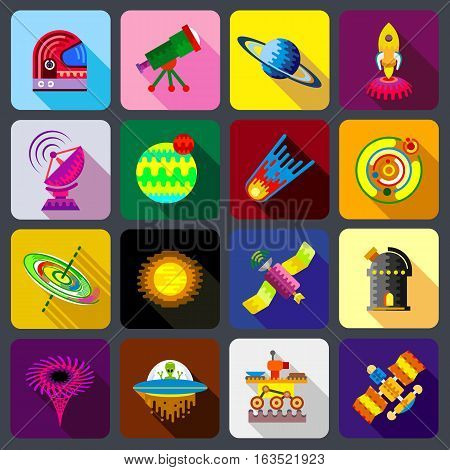 Space items icons set. Flat illustration of 16 space items vector icons for web