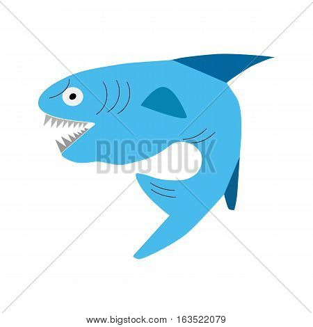 shark angry cartoon isolated on white background. Vector illustration eps 10