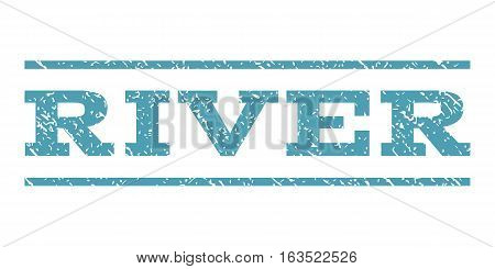 River watermark stamp. Text caption between horizontal parallel lines with grunge design style. Rubber seal stamp with dust texture. Vector cyan color ink imprint on a white background.
