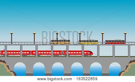 Double Deck Bridge Upper For Road And Lower For High Speed Train