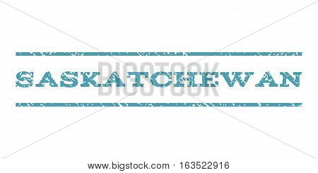 Saskatchewan watermark stamp. Text caption between horizontal parallel lines with grunge design style. Rubber seal stamp with scratched texture. Vector cyan color ink imprint on a white background.