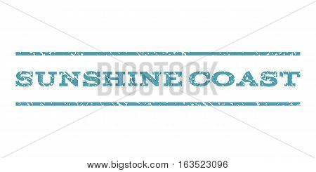 Sunshine Coast watermark stamp. Text tag between horizontal parallel lines with grunge design style. Rubber seal stamp with scratched texture. Vector cyan color ink imprint on a white background.