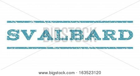 Svalbard watermark stamp. Text tag between horizontal parallel lines with grunge design style. Rubber seal stamp with dirty texture. Vector cyan color ink imprint on a white background.