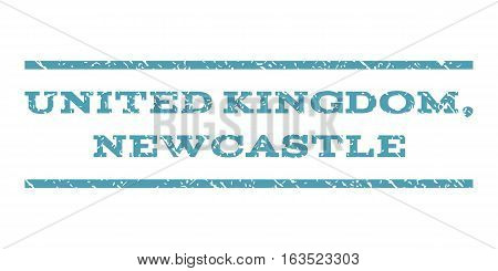 United Kingdom, Newcastle watermark stamp. Text tag between horizontal parallel lines with grunge design style. Rubber seal stamp with dirty texture.