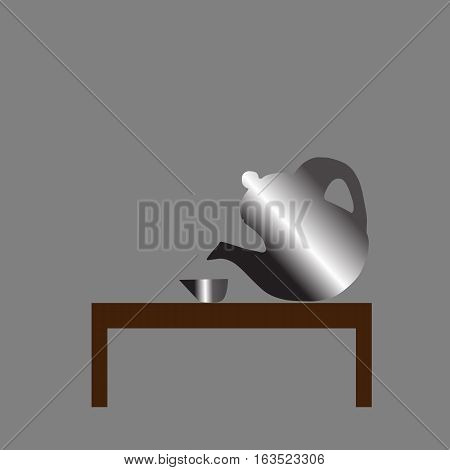 teapot and cup Icon on the table isolated on brown background . Vector illustration with eps 10