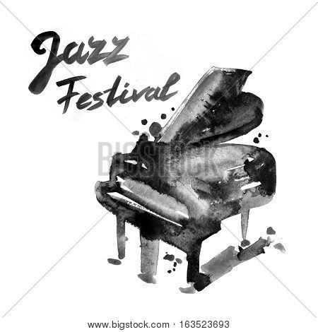 Jazz music festival, poster background template with piano. Watercolor