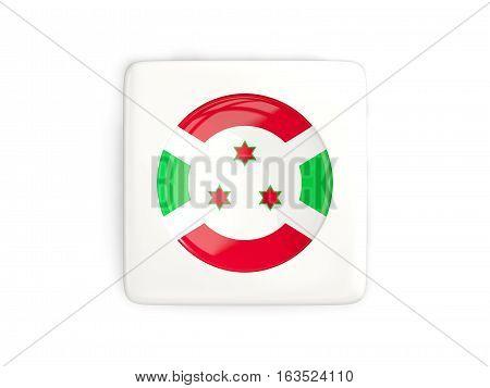 Square Button With Round Flag Of Burundi