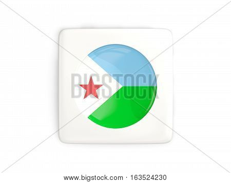 Square Button With Round Flag Of Djibouti