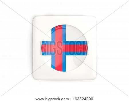 Square Button With Round Flag Of Faroe Islands