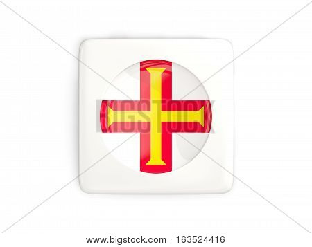 Square Button With Round Flag Of Guernsey