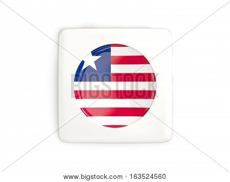 Square Button With Round Flag Of Liberia