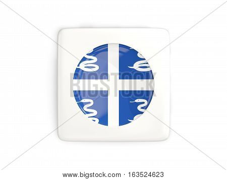 Square Button With Round Flag Of Martinique
