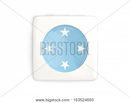 Square Button With Round Flag Of Micronesia