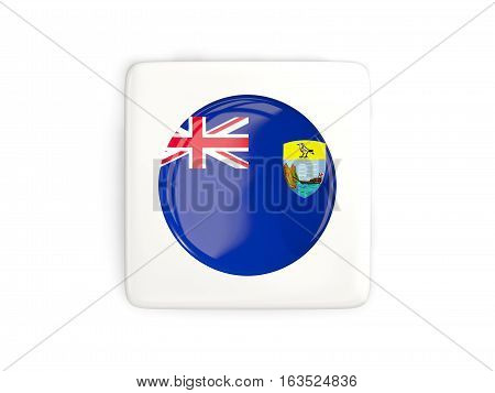 Square Button With Round Flag Of Saint Helena