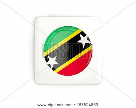 Square Button With Round Flag Of Saint Kitts And Nevis