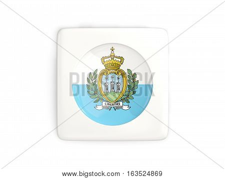 Square Button With Round Flag Of San Marino