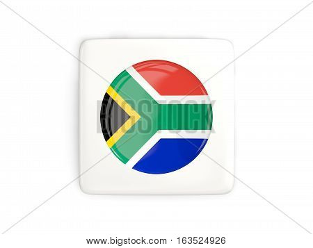 Square Button With Round Flag Of South Africa