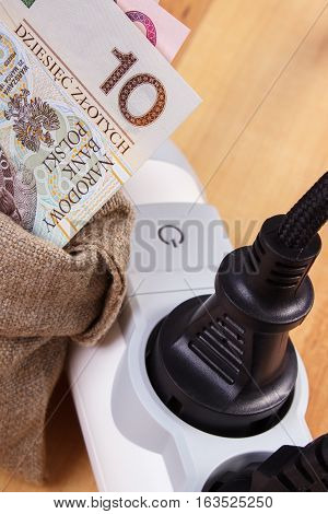 Electrical Extension With Connected Plug And Polish Currency Money, Energy Costs