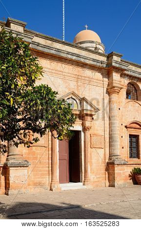 Front view of the Agia Triada monastery Agia Triada Crete Greece Europe.