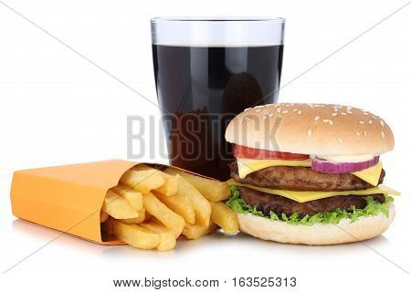 Double Cheeseburger Hamburger And French Fries Menu Meal Combo Cola Drink Isolated