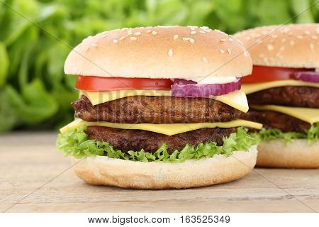 Double Cheeseburger Hamburger Fresh Burger Tomatoes Cheese