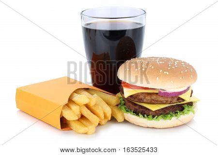 Double Cheeseburger Hamburger And French Fries Menu Meal Combo Cola Drink Fast Food Isolated
