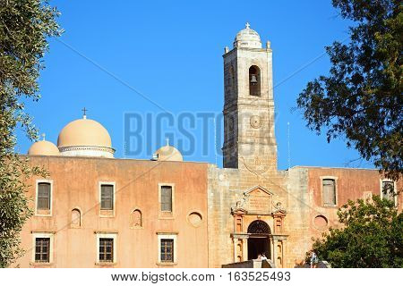 AGIA TRIADA, CRETE - SEPTEMBER 16, 2016 - Front view of the Agia Triada monastery and bell tower Agia Triada Crete Greece Europe, September 16, 2016.