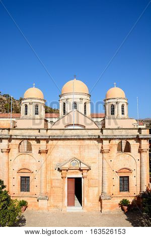 Elevated view of the front of the Agia Triada monastery Agia Triada Crete Greece Europe.