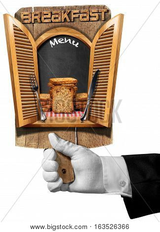 Hand of waiter holding a cutting board with window with open shutters group of rusks and text Breakfast Menu. Isolated on white